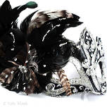 Feather Mask Colombina Vin Silver Black