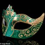 Masquerade Mask Colombina Stella Gold Green