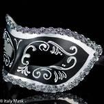 Masquerade Mask Settecento Black Silver