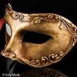Venetian Masquerade Mask Colombina Stucco Gold