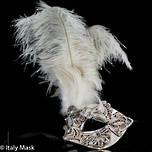 Feather Mask Macrame Silver White