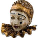 Venetian Carnival Masquerade Full Face Mask- Pierrot Macrame Gold