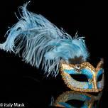 Masquerade Feather Mask Ciuffo Can Can Gold Aqua 2