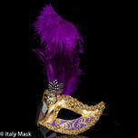 Feather Masquerade Mask Ciuffo Sisi Gold Purple