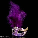 Feather Masquerade Mask Ciuffo Star Gold Purple