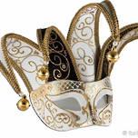 Venetian Masquerade Mask Colombina Jolly Brillante Black White Gold