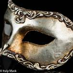 Venetian Masquerade Mask Colombina Stucco Silver