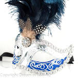 Masquerade Mask - Sisi Silver Blue (Feather) (2)