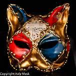 Venetian Masquerade Cat Mask Gatto Scacchi