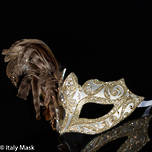 Feather Mask Colombina Vin Gold Silver