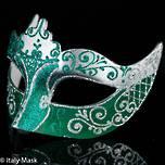 Masquerade Mask Colombina Stella Silver Green