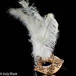 Feather Mask Macrame Gold White