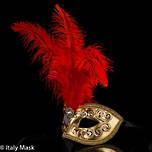 Masquerade Feather Mask - Mezza Gold-Red