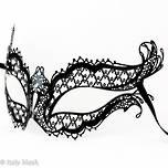 Metal Filigree Masquerade Mask - Mon Amour (Black)