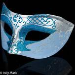 Masquerade Mask Decor Silver Aqua