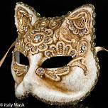 Venetian Masquerade Cat Mask Macrame Gold