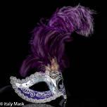 Masquerade Mask Colombina Ciuffo Sisi Silver Purple 3