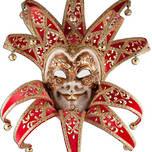 Venetian Masquerade Mask Joker Reale Vin Red