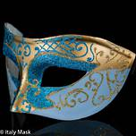 Masquerade Mask Colombina Decor Gold-Aqua