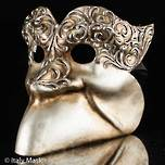 Venetian Masquerade Mask Bauta Stucco Silver