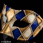 Venetian Masquerade Mask Colombina Rombi Blue