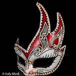 Venetian Mask Colombina Cigno Elisa (Red)