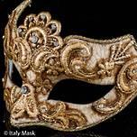Venetian Masquerade Mask Colombina Macrame Gold Cignetta