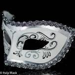 Masquerade Mask Settecento Silver White
