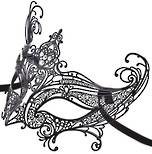 Filigree Masquerade Mask Catwoman Black