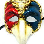 Venetian Masquerade Mask Pulcinella - Red-Blue-Cream