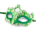 Venetian Masquerade Mask Colombina Punta Star Silver Green Vin