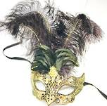 Venetian Masquerade Feather Mask Colombina Decor Gold Black
