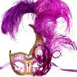 Colombina Ciuffo Cigno Gold/Purple Venetian Masquerade Mask