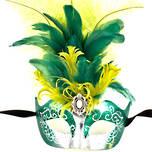 Venetian Masquerade Mask Colombina Ciuffo Star Green Silver