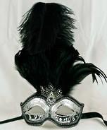 Venetian Feather Masquerade Mask Colombina Ciuffo Sisi Silver Black