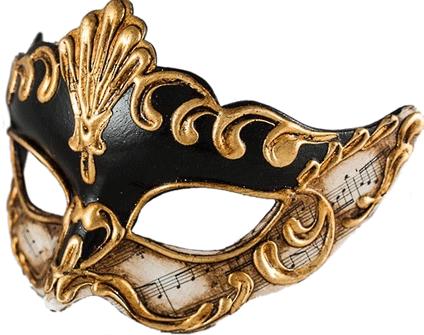 Venetian Masquerade Mask Musica Black