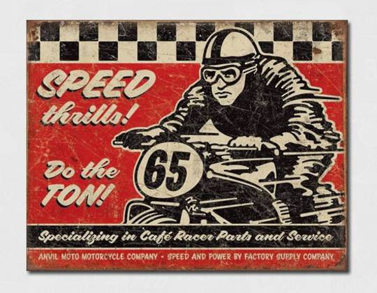 Tin Sign Cafe Racer 65