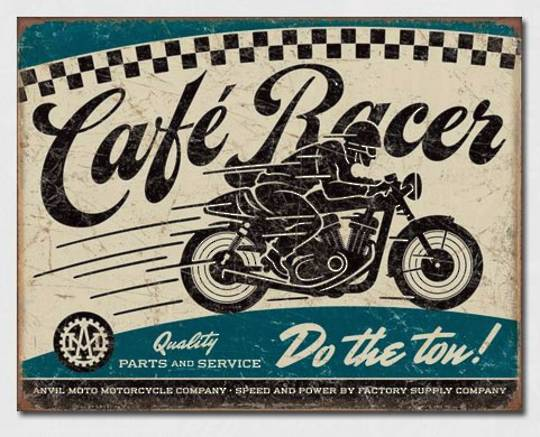 Tin Sign Cafe Racer Anvil