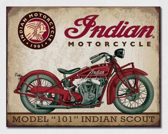 Tin Sign Indian Scout 101