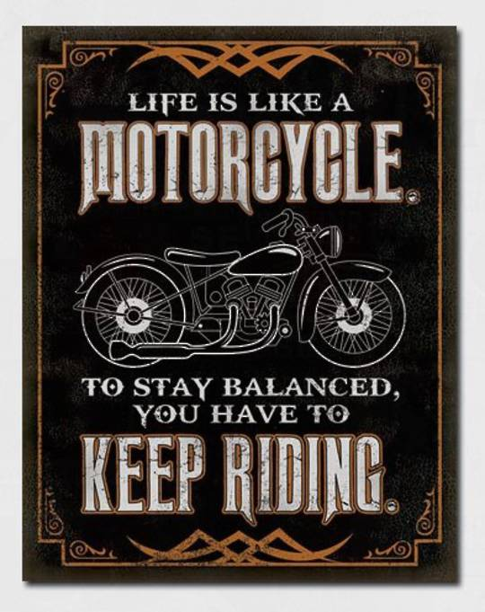 Tin Sign Stay Balanced Keep Riding