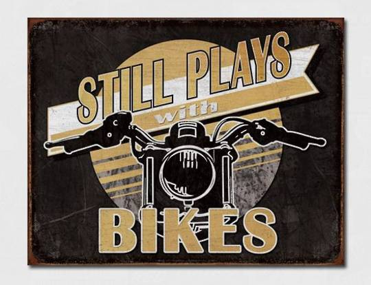 Tin Sign Still Plays with Bikes