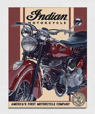 Tin Sign Indian Chief Red