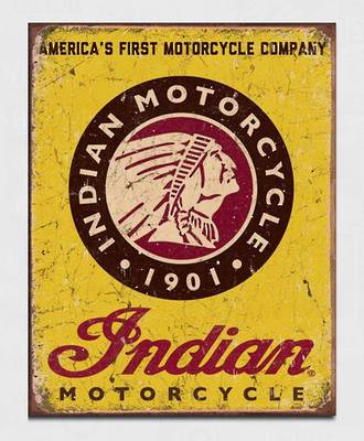 Tin Sign Indian Logo Rect