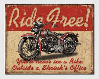 Tin Sign Ride Free