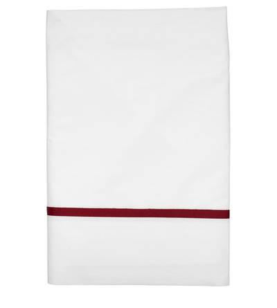 Gorgi White Cotton Percale Flat Sheet with Scarlet Gros Grain