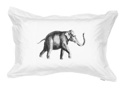 Gorgi 100% White Cotton Oxford Pillowcase with Vintage Inspired Elephant Print