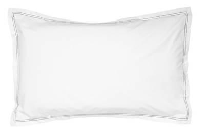 Pair of Gorgi 100% White Cotton Percale Oxford Pillowcase with Black Saddle Stitch Detail