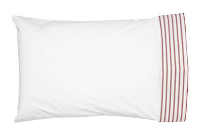 Gorgi Madder Red White with Scarlet Ticking Stripe Cuffed Pillowcase