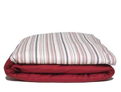 Vintage Retro Scarlet with Red and Navy French Stripe Duvet Cover