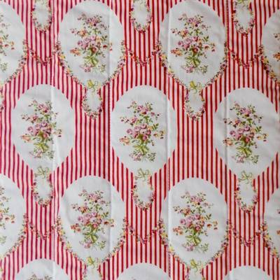 Fabric Swatch French Scarlet Stripes and Flowers Cotton Print